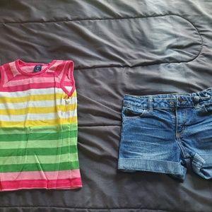 girl 7/8 denim shorts Gap stripe top